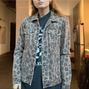 BlankNYC Leopard Print Denim Jacket